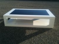 Table Basse Laquee Blanche Verre Noir  <br/>