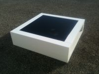 Table Basse Laquee Blanche Verre Noir<br/>