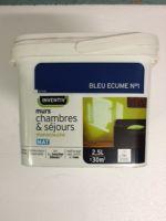 Peinture Interieure Murs Chambres et Sejours Mat Monocouche 2,5 litres Bleu Ecume<br/>Inventiv
