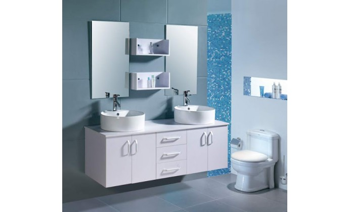 ensemble sdb meuble miroir 2 vasques design blanc